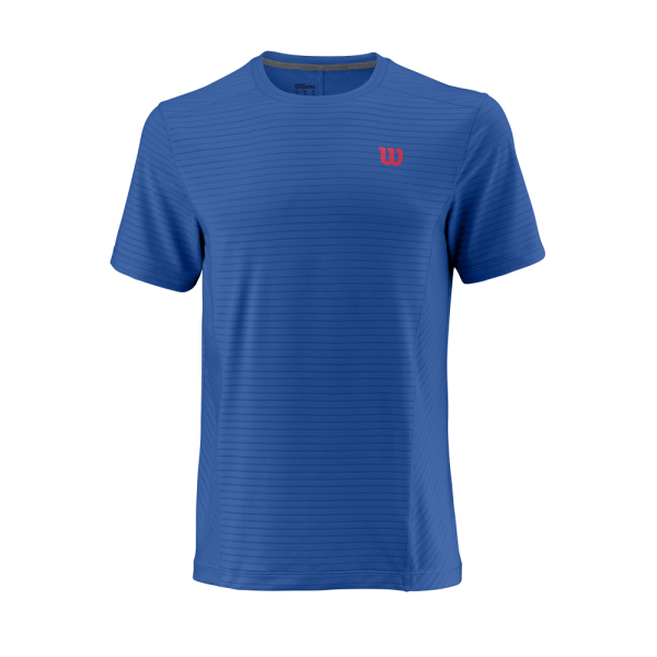 T-shirt de ténis Competition M UWII Linear Crew Mens PrinceBlue NeonRed