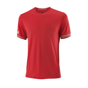 T-shirt de ténis Team M Solid Crew Mens WilsonRed White